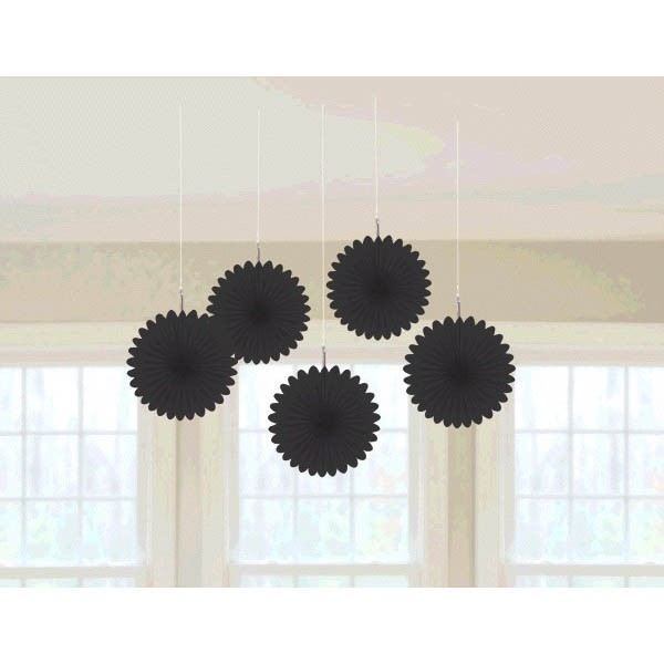 Mini Hanging Fan Decor Jet Black 5ct