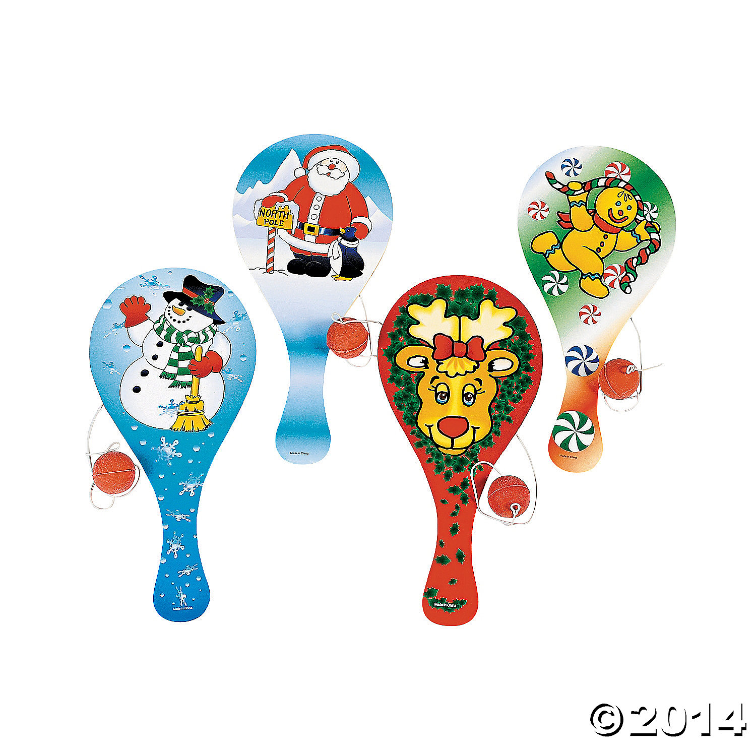 Wooden Holiday Paddleball Games