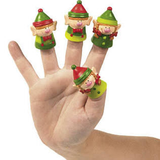 Vinyl Christmas Elf Finger Puppets