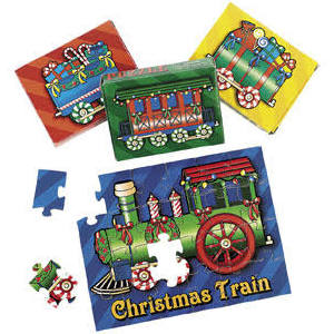 Cardboard Christmas Train Puzzles