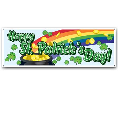 Happy St Patrick's Day Sign Banner 5ft x 21in