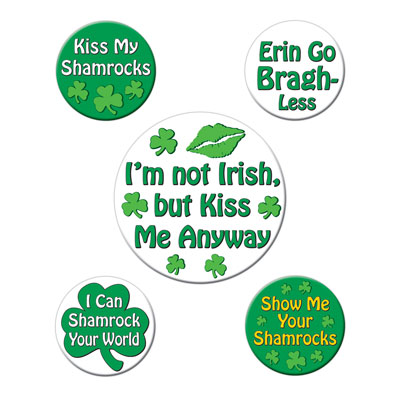 St Patrick's Funny Party Buttons 2-13 & 1-13in