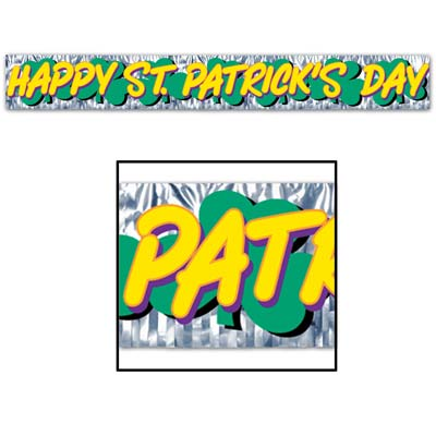 Met Happy St Patrick's Day Fringe Banner 8in x 5ft