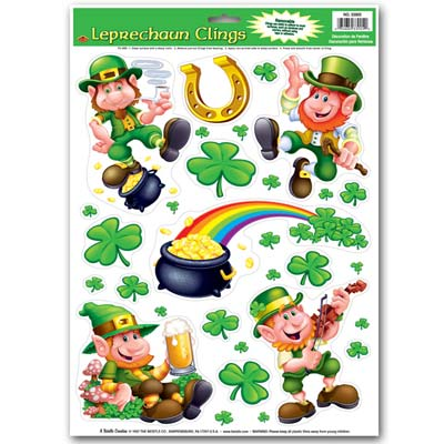 Leprechaun Shamrock Clings 12 x 17in Sheet