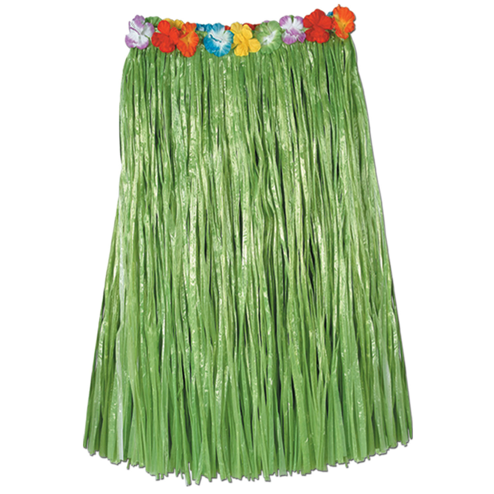 Green Adult Hula Skirt with Flowers