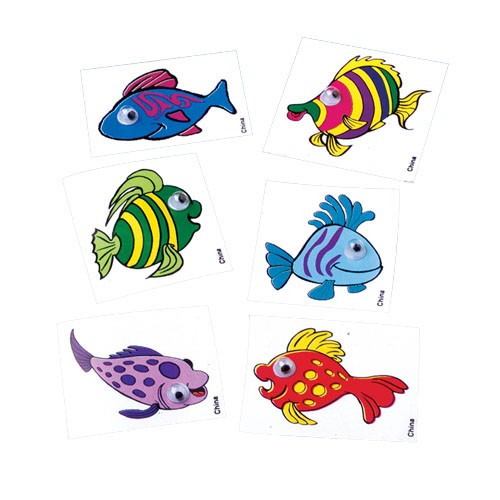 Fish Sticker With Eyes-72 Pcs