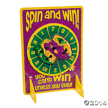 Wooden Mardi Gras Spinner Game