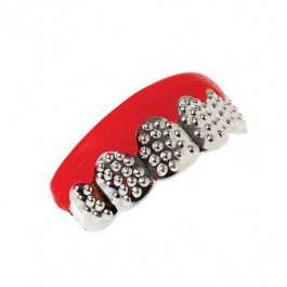 Silver Bling Teeth Grill Costume Accessory
