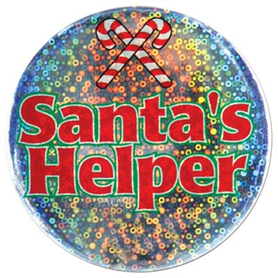 Santa's Helper Button 3.5in