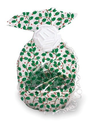 Holly & Berries Large Basket Cello Bag
