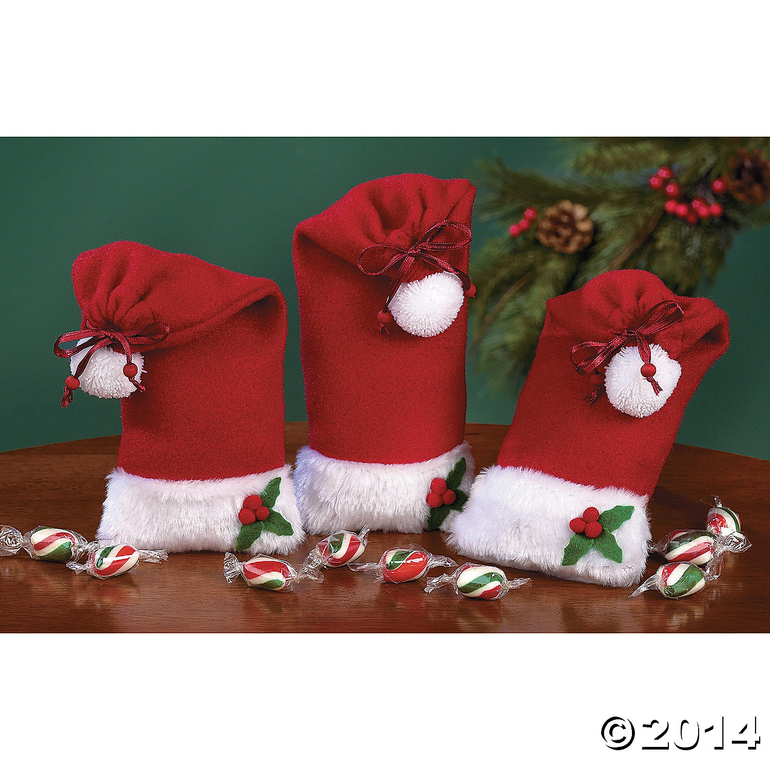 Fleece Santa Hat Gift Bags