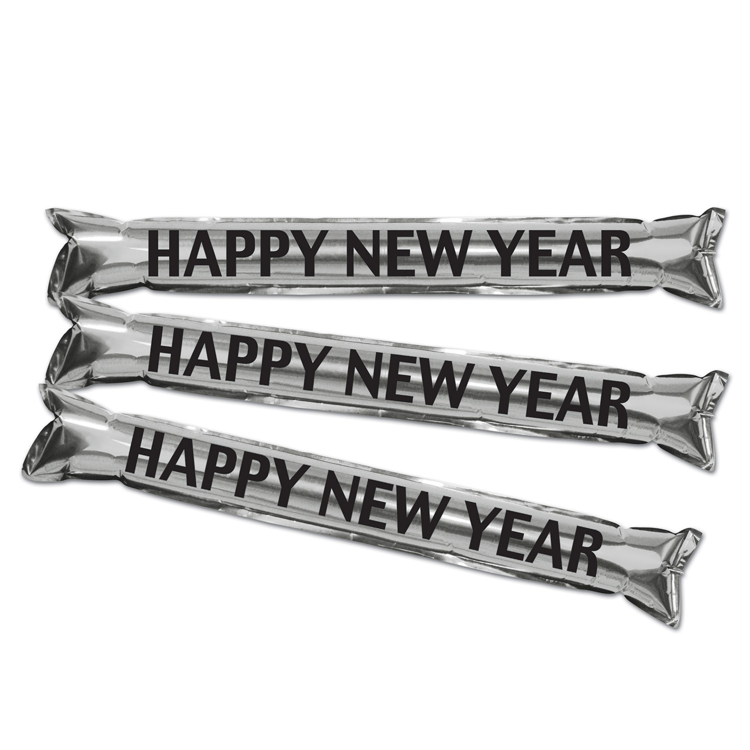 Metallic Make Some Noise Party Sticks 22in black & silver