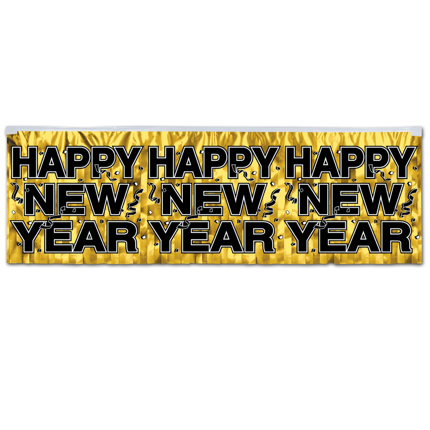FR Metallic Happy New Year Fringe Banner 14in x 4ft gold