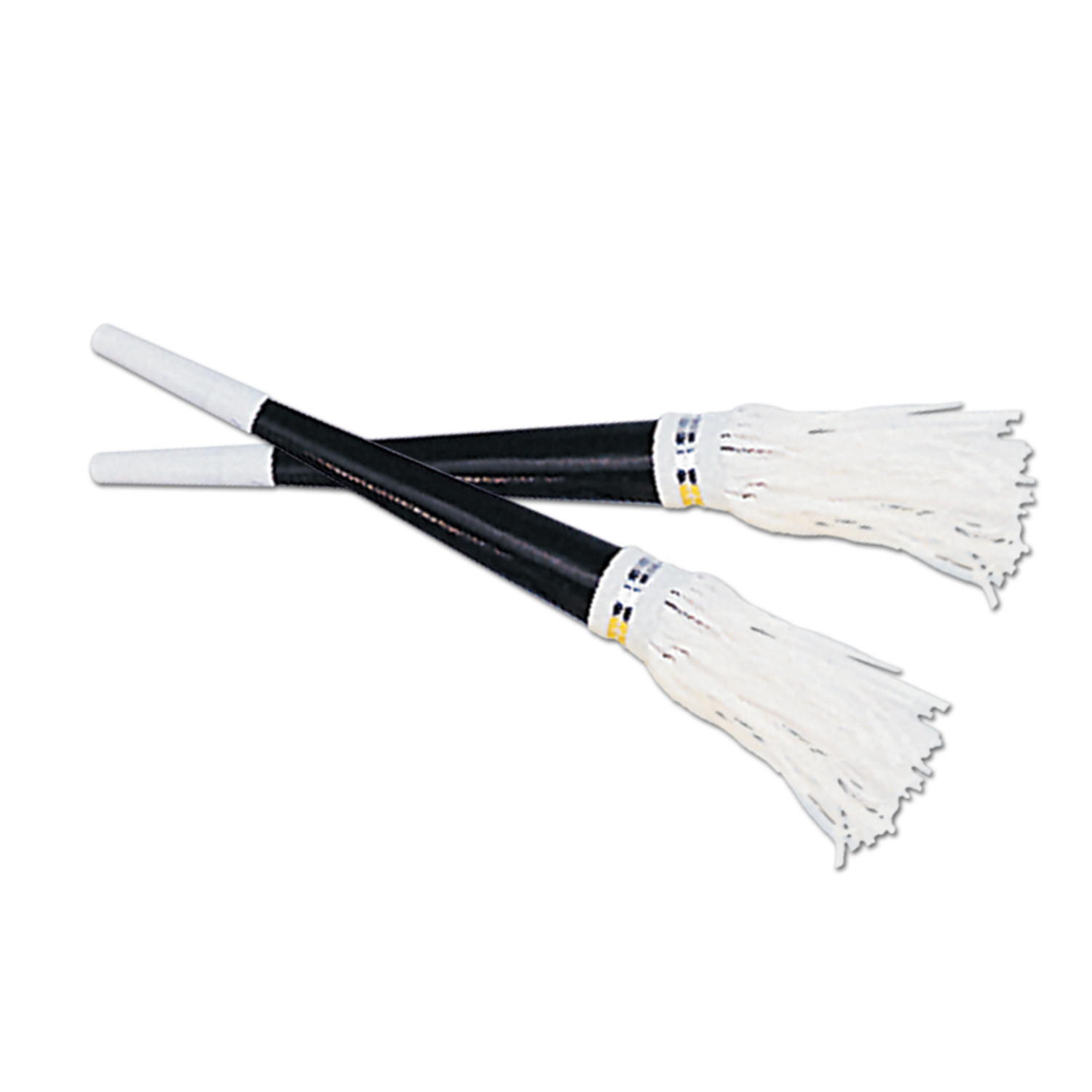 Black Foil Horns White Tassel 9in