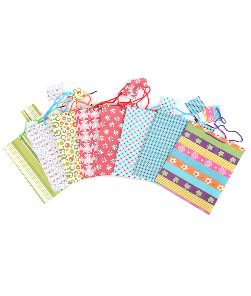 9 Inch Colorful Gift Bag Assorted - 60ct
