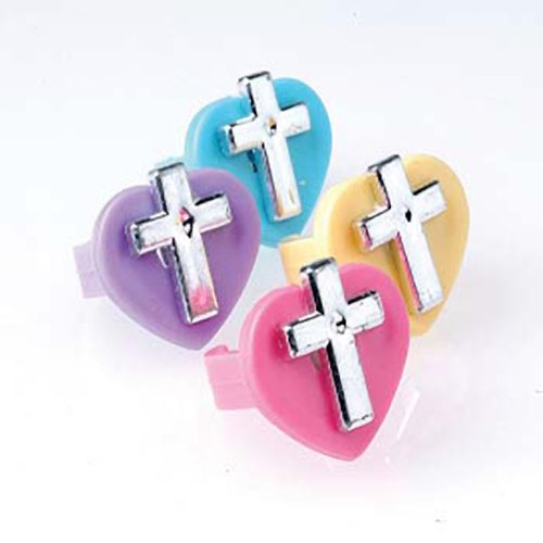Christian Inspirational Heart Cross Rings