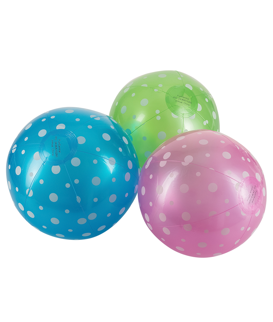 9 Inch Inflatable Polka-Dot Beach Balls - 12 Pack