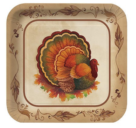 Traditional Feast 7 inch Square Lunch Plates