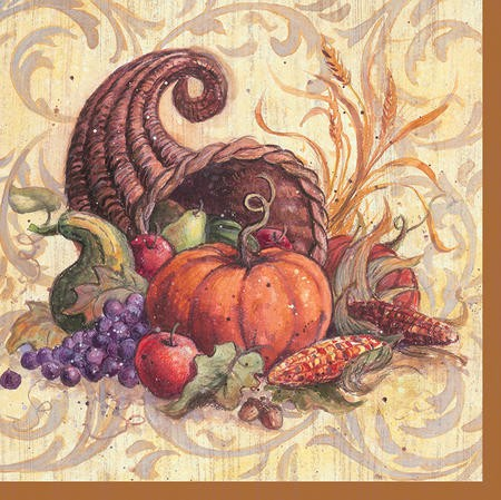 Cornucopia Scroll 2-Ply Beverage Napkins