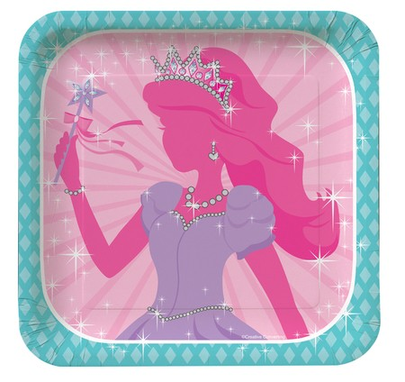 Princess Party Deep Dish Square Foil Luncheon Plates