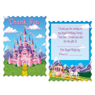 Princess Party Thank You Notes 4x5.5in