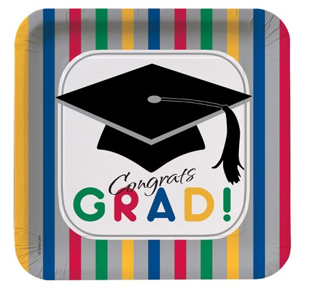 Graduation Stripes 7 Square Lunch Plates