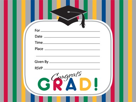 Graduation Stripes Bulk Invitations