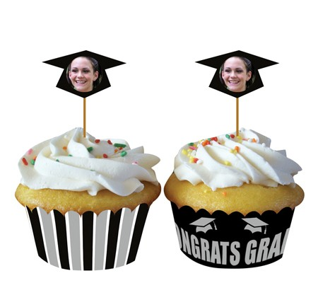 Personalization Grad Cupcake Wrapper & Picks