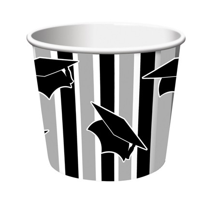 Black & Gray Stripe Grad Treat Cups