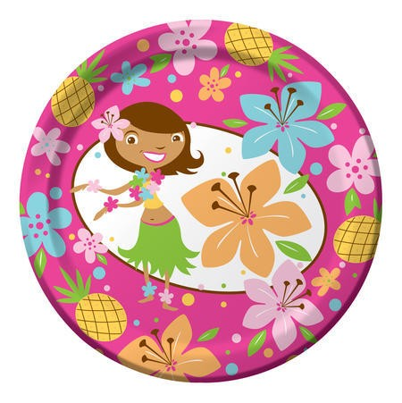 Pink Luau Fun 7 Lunch Plates