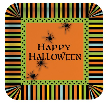 Spooky Spiders 9 in Square Dinner Plates