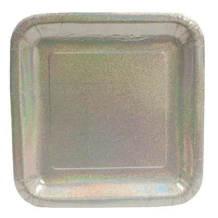 Glitz Silver 9in Square Prismatic Dinner Plates
