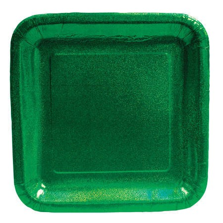 Glitz Green 9in Square Prismatic Dinner Plates