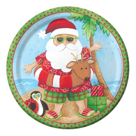 Santa's Holiday 9in Sturdy Style Dinner Plates