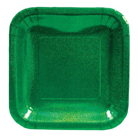 Glitz Green 7in Square Prismatic Lunch Plates