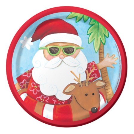 Santa's Holiday 7in Sturdy Style Luncheon Plates