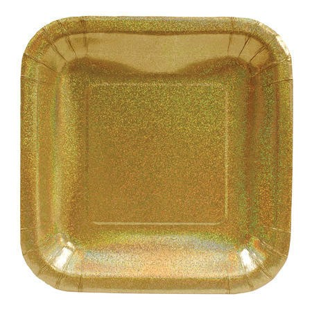 Glitz Gold 7in Square Prismatic Lunch Plates