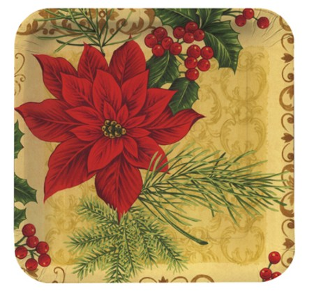 Opulent Poinsettia 7in Luncheon Plates