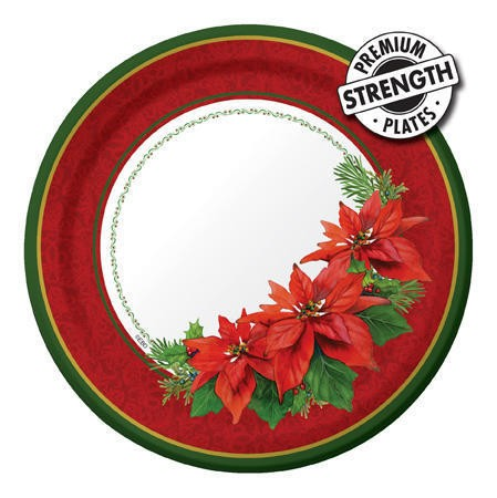 Holiday Poinsettia 7in Lunch Plates