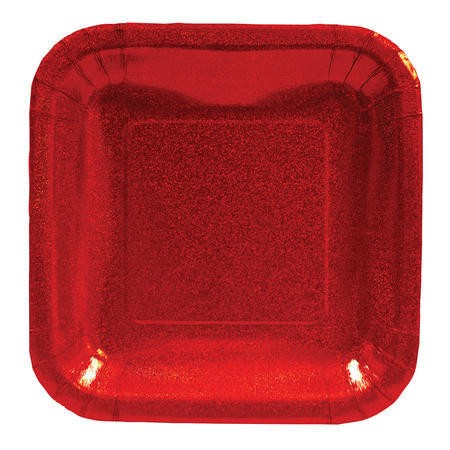 Glitz Red 7in Square Prismatic Lunch Plates