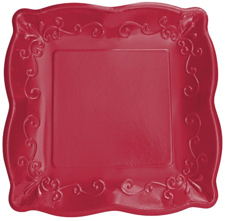 Garnet 7in Pottery Scalloped Embossed Wide-rim Square Plate