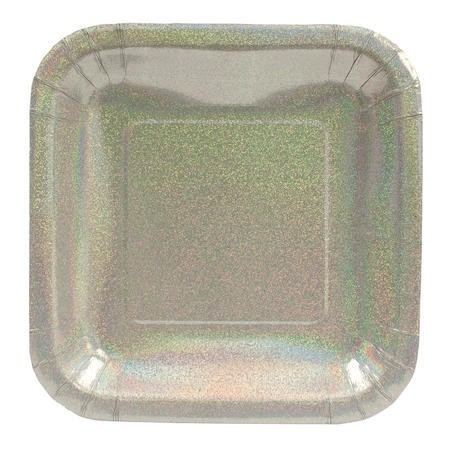 Glitz Silver 7in Square Prismatic Lunch Plates
