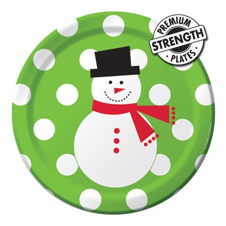 Snowman Dots Big Value 7in Lunch Plates