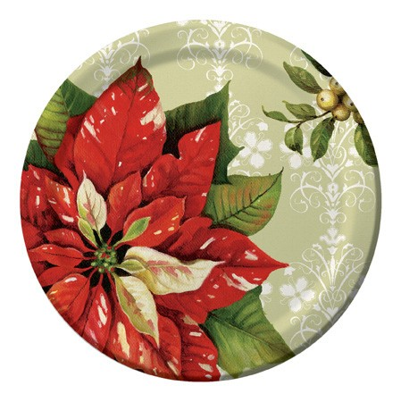 Vintage Poinsettia 7in Lunch Plates