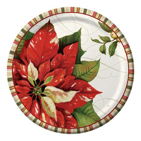 Vintage Poinsettia 10.25in Banquet Plates