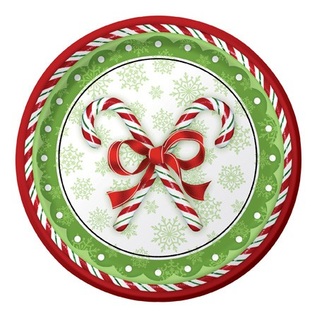 Candy Cane Bliss Mid-Count 10.25in Banquet Plates