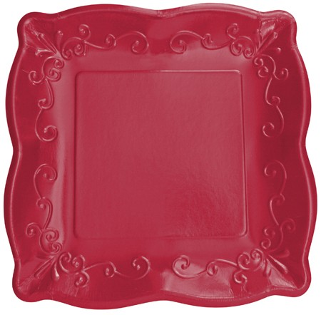 Garnet 10in Pottery Scalloped Embossed Wide-rim Square Plate
