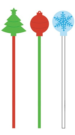 Santa & Presents Drink Stirrers with Shaped Picks