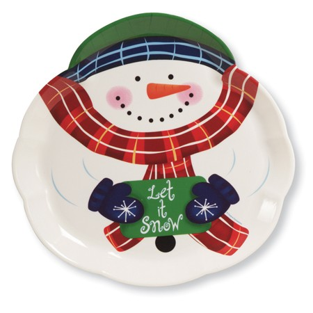 Snowman 14in Shaped Plastic Trays