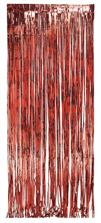 Red Foil 8 x3ft Door Fringe
